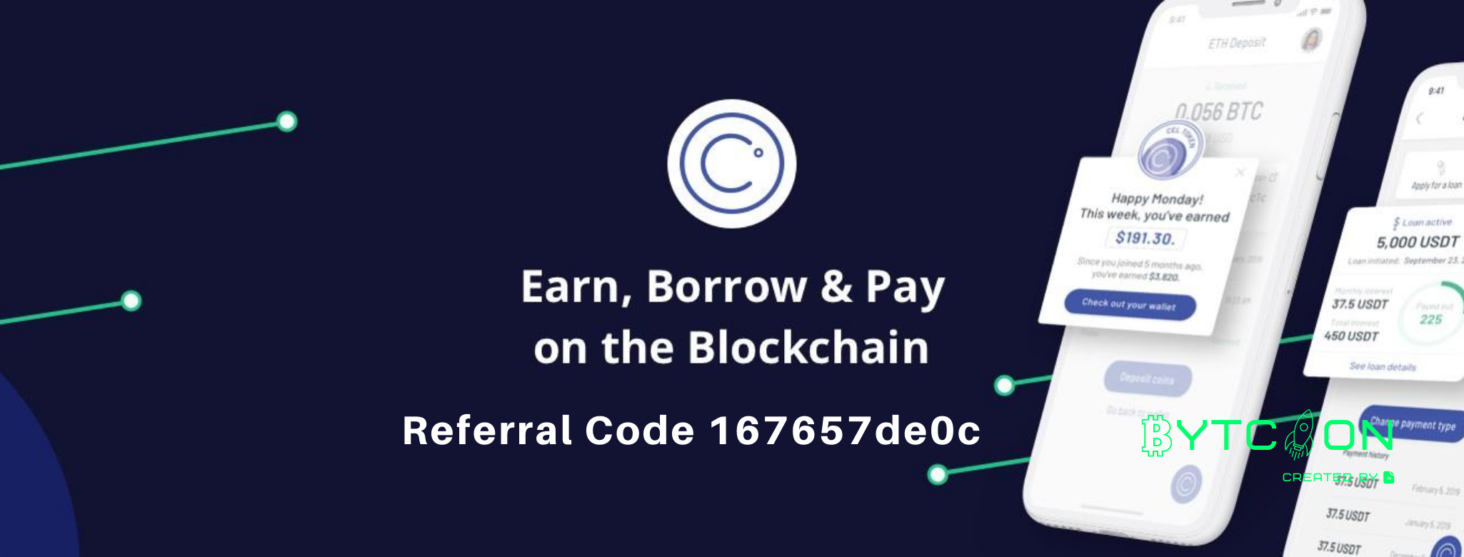 Earn free BTC Join Celsius Network using my referral code 167657de0c when signing up and earn $20 in BTC with your first deposit of $200 or more! #UnbankYourself